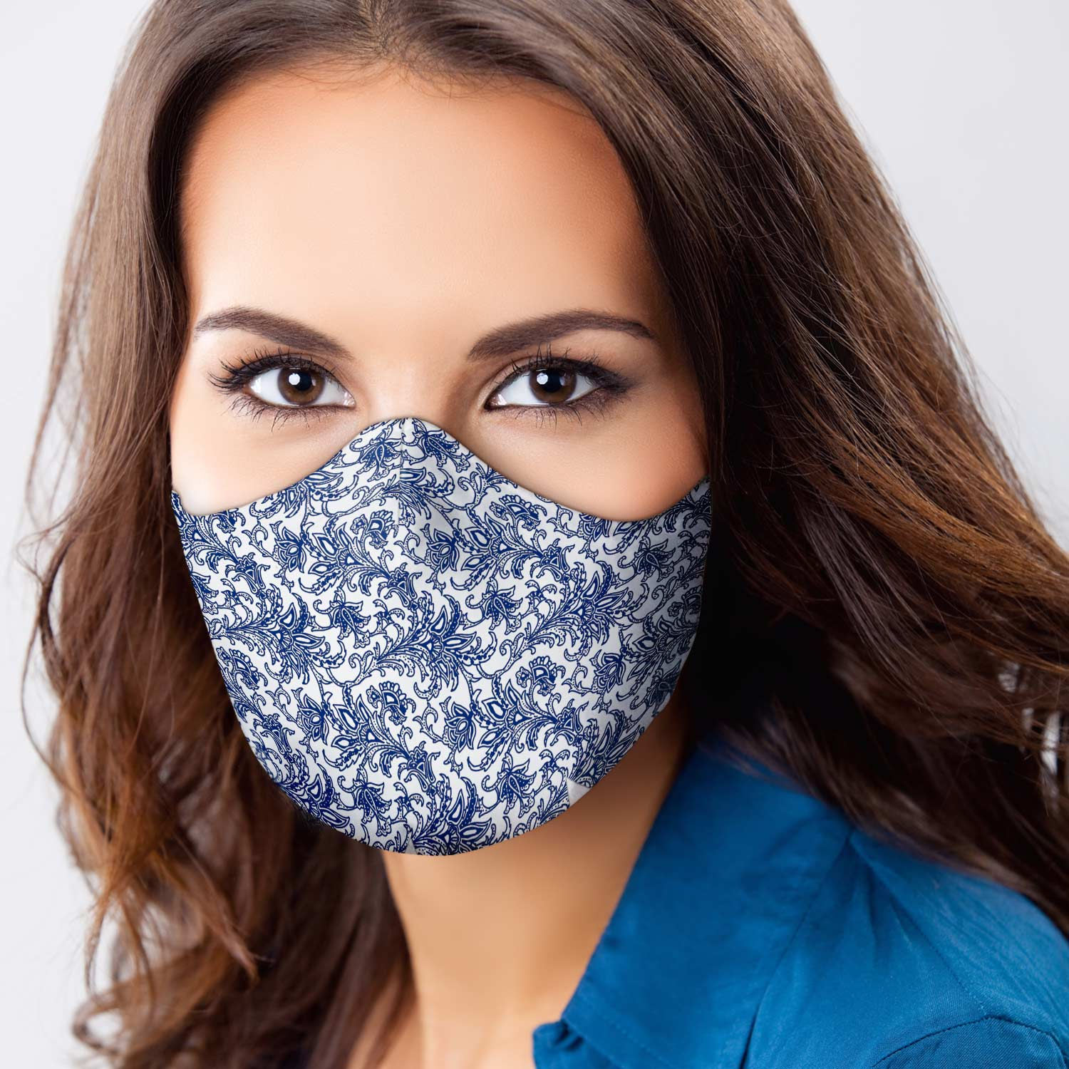 Face Mask 3 Layer Floral Blue