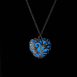 Glow in the Dark Heart Pendant Necklace